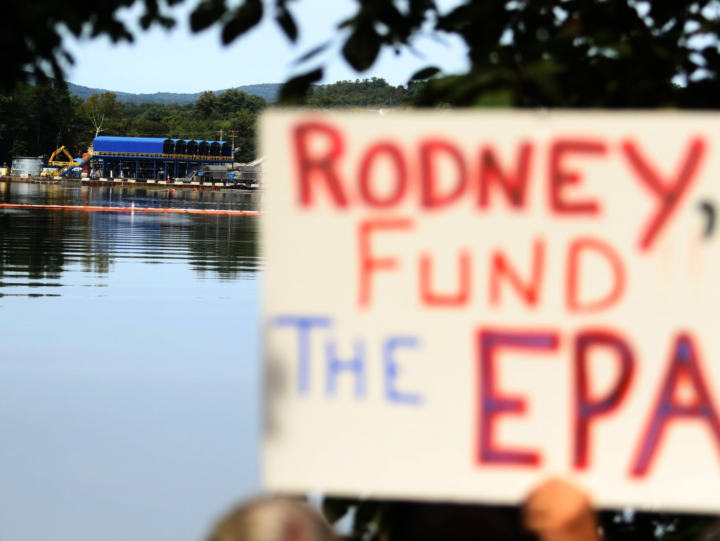 Citizens and environmental lobbyists get together and protest the lack of a response from Congressman Rodney Felinghuysen to naming the area of Pompton Lakes contaminated by the DuPont Company a Superfund site in 2017.