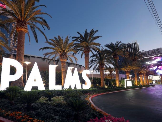 New signage at the Palms Casino Resort in Las Vegas.