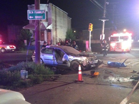 A one -car crash that knocked down utility polices was followed by a house collapse in Camden Monday night.