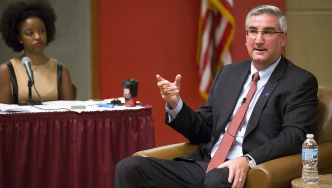 Republican Eric Holcomb, Indiana's lieutenant governor, speaks Sept. 25, 2016, at a forum in Central Library, Indianapolis, for the three main candidates for Indiana governor.