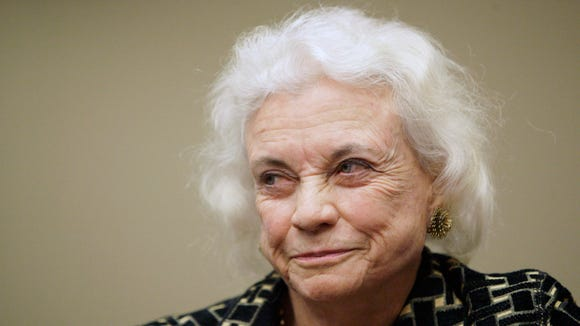 Former Supreme Court Justice Sandra Day O'Connor smiles after speaking at Southern Methodist University, Wednesday, April 4, 2007, in Dallas.
