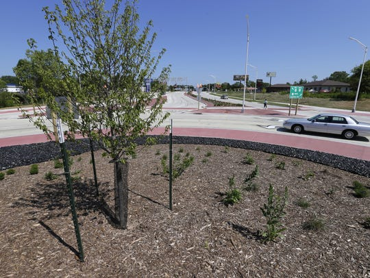 The roundabouts on State 47 were planted with perennials