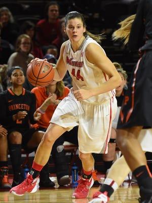 Marist College's Tori Jarosz drives to the hoop against Princeton on Dec. 29 at McCann Arena.