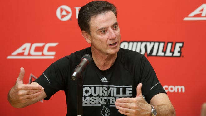 U of L head coach Rick Pitino names tri-captains for the 2017 season as he addressed the media.Sep. 7, 2017