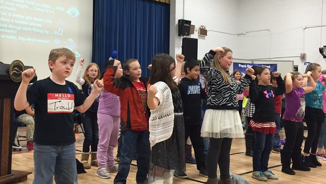 Students from Pisgah Elementary took part in an assembly to celebrate the school's National Blue Ribbon designation.
