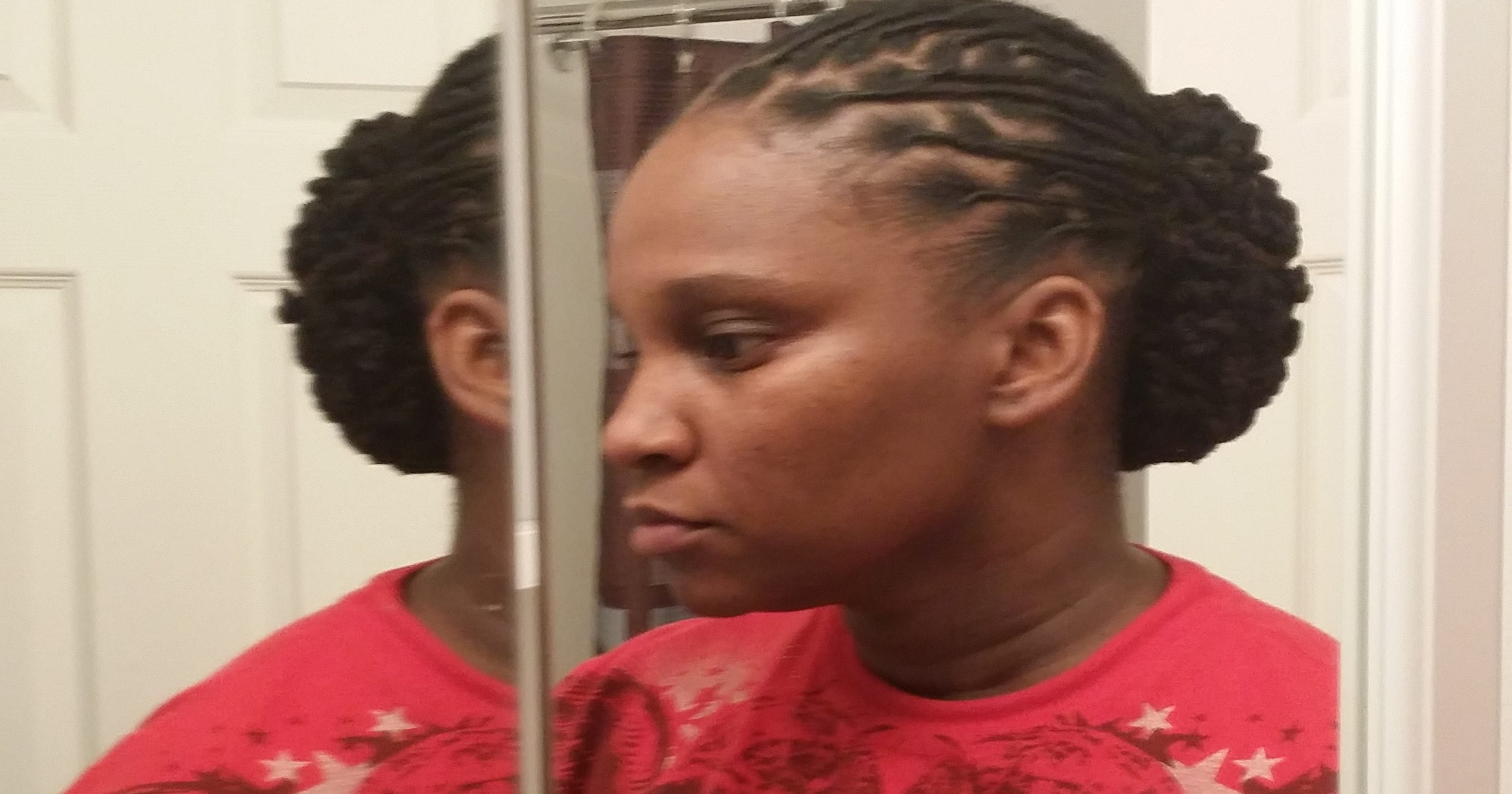 Navy Boots Sailor Over Her Natural Hairstyle