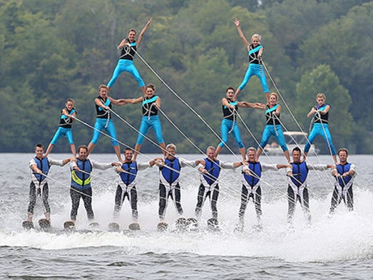 Lake City Skiers, out of Warsaw, Ind, performed two consecutive shows Saturday afternoon for those in attendance on the beach at Prairie Creek Reservoir.