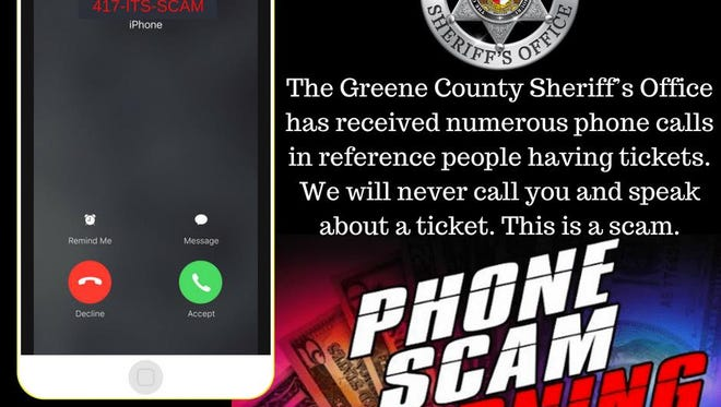 The Greene County Sheriff's Office received numerous calls today from Christian County residents who reported receiving calls seeking to collect on traffic tickets.