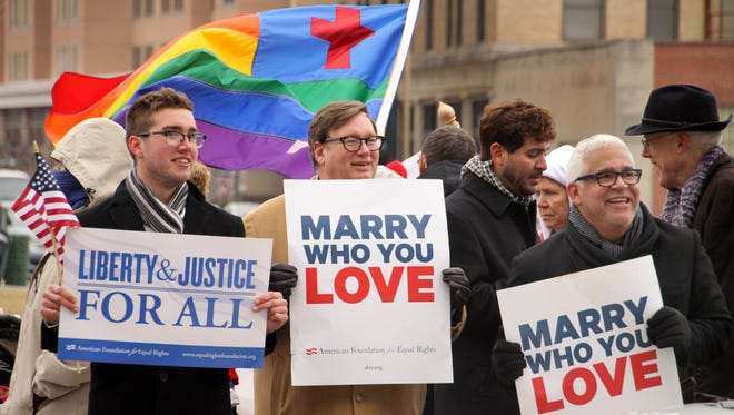 Supporters of same-sex marriage rally in Norfolk, Va., earlier this year.