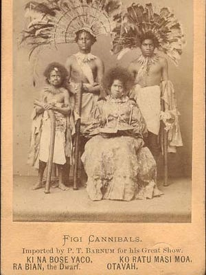 """""""Figi (Fiji) Cannibals"""" for a Barnum advertisement.  The dwarf on the left died in York in 1872."""