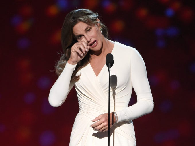 Caitlyn Jenner accepts the Arthur Ashe award for courage