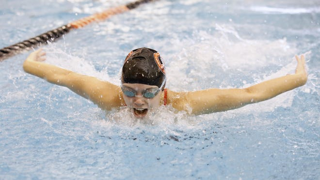 Freeport's Kyrsten Kuhse competes in the 100-yard butterfly Nov. 9, 2019, during the NIC-10 swim meet at Harlem High School in Machesney Park.