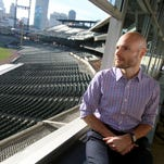 Jay Sartori is new to the Detroit Tigers baseball organization as the teams senior director of baseball operations and head of its analytical department. Sartori who was photographed in the press box at Comerica Park in Detroit, Michigan on Wednesday, January 6, 2016 comes to the Tigers from Apple.