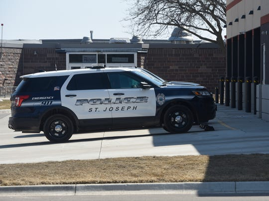 A police vehicle is parked outside the St. Joseph Government Center Monday, April 23, in St. Joseph.