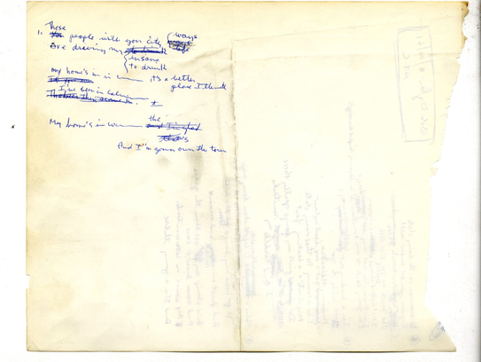 The reverse side of a lyric sheet Bob Dylan wrote about