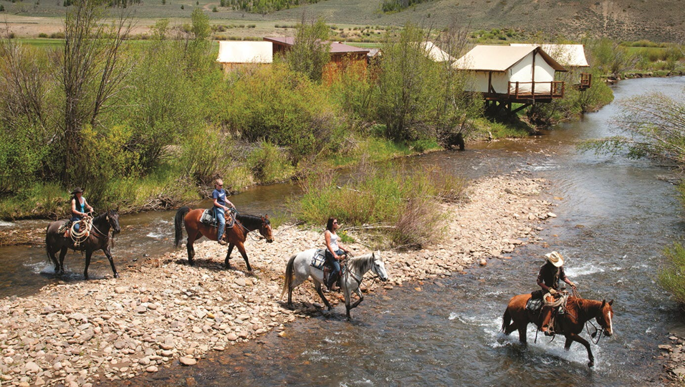 Along with traditional offerings, C Lazy U Ranch offers mountain biking and kids' activities.