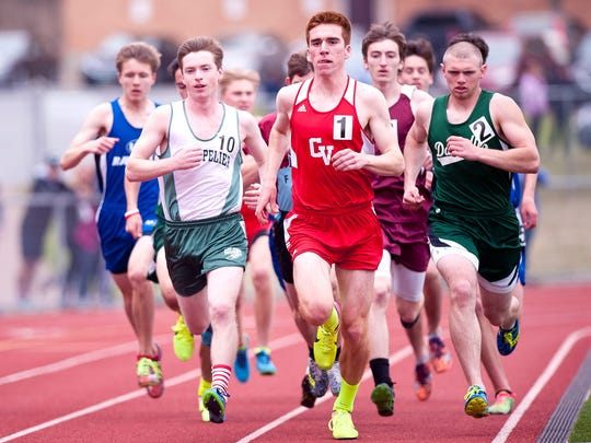 Montpelier's Matt Hynes, left, Champlain Valley's Tyler Marshall, center, and Danville's Riley Fenoff lead the pack early in the boys 1,500 meters at the Burlington Invitational track meet on Saturday at D.G. Weaver Athletic Complex.