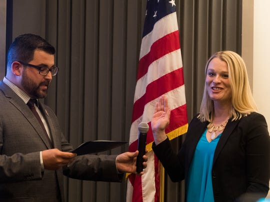 Christy Holstege is sworn in as newly elected Palm Springs City Council Member on December 6, 2017.