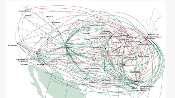 An image of Frontier Airlines' route map.