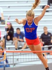 Gregory-Portland's Riley Floerke clears the bar during the Region IV-5A meet in San Antonio last May. Floerke will be among a number of competitors at an indoor pole vault meet in Woodsboro on Saturday.