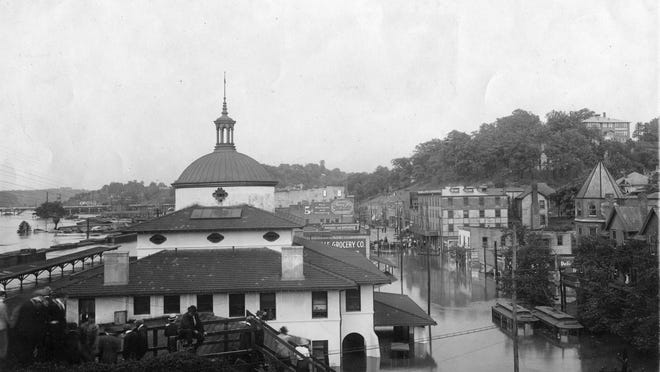 Depot Street as it appeared during the flood of 1916.