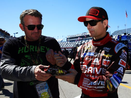 Jeff Gordon is constantly signing autographs for fans, like here at Daytona International Speedway in February.