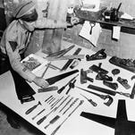 The collection of tools found by authorities in the garage of Bruno R. Hauptmann, Lindbergh kidnap suspect, that will be used in his trial by the state of New Jersey.