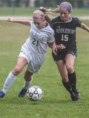 Left, Rice's Alex Dostie cuts off Middlebury's Andi Boe during their girls soccer match up at Rice in South Burlington on Friday.