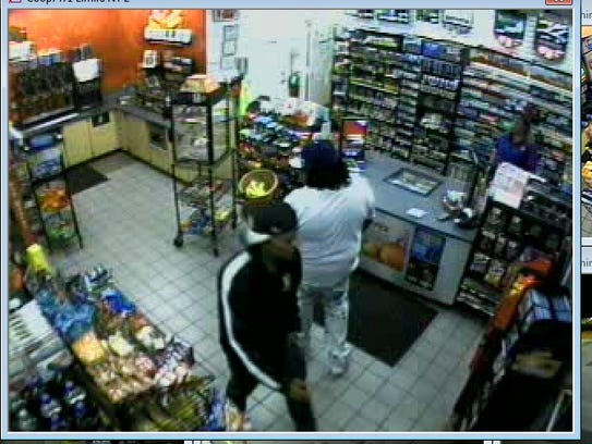 Security footage featuring a suspect in the robbery