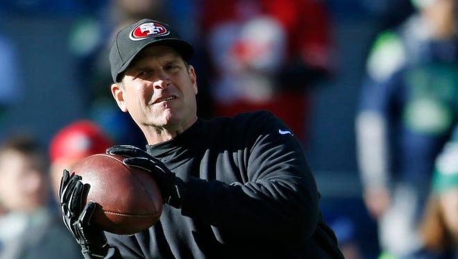 San Francisco 49ers head coach Jim Harbaugh.