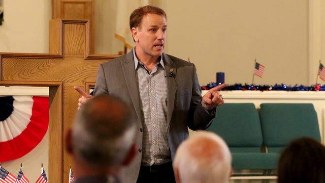 Rep. Pat Fallon talks to Wichitans Tuesday, April 24, 2018, at his town hall in Bible Baptist Church on Austin Street on the last day of his two day town hall tour. Fallon also held town halls in Iowa Park, Electra and Burkburnett as part of the tour.