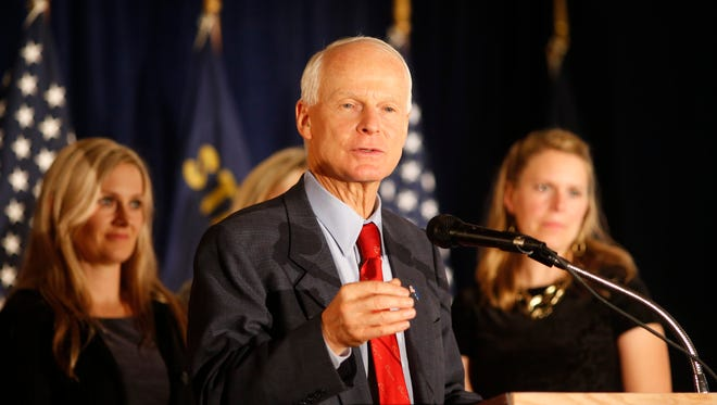 Oregon Republican gubernatorial candidate Rep. Dennis Richardson, of Central Point, sends his supporters home while not conceding defeat at the Monarch Hotel and Convention Center, in Portland, Tuesday, Nov. 4.