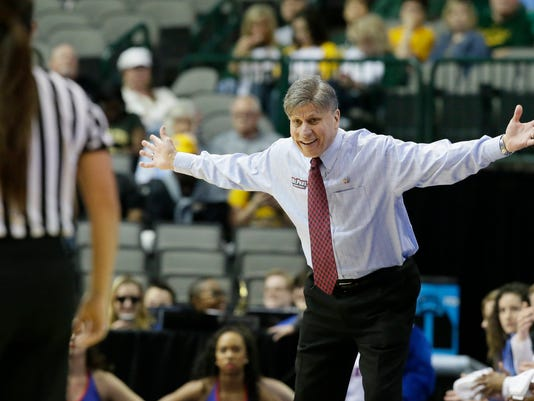 DePaul head coach Doug Bruno, right, reacts to a call during the first half of an NCAA college basketball game against Oregon State in the regional semifinals of the women's NCAA Tournament Saturday, March 26, 2016, in Dallas. (AP Photo/LM Otero)