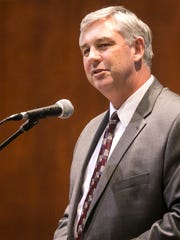 Wayne McCullough, of the Pennsylvania Association of School Business Officials, speaks about school property taxes during an educational session hosted by the York Suburban School District on Wednesday, Feb. 8, 2017, at York Suburban High School, in Spring Garden Township. The program also featured a presentation from state Sen. Mike Folmer, R-York and Lebanon, regarding Senate Bill 76. Amanda J. Cain photo