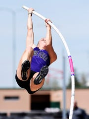 Courtney Crandall of USF competes in the women's pole vault Friday at the Howard Wood Dakota Relays, May 6, 2016.