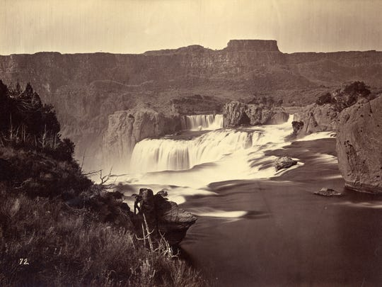 """Shoshone Falls, Idaho Territory,"" about 1865, photographed by Timothy H. O'Sullivan (American, about 1840–1882), albumen print. Collection of Michael Mattis and Judith Hochberg"