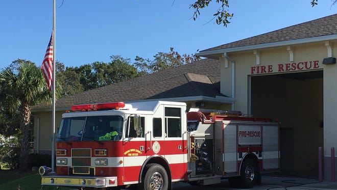 Flags were at half staff Monday at Fire Station 5 in Winter Beach and all Indian River County Fire Rescue stations in honor of Battalion Chief David Dangerfield, who died Saturday.