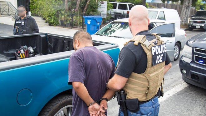 This is an individual who was apprehended during the U.S. Immigration and Customs Enforcement roundup in Southern California. Nearly 200 people were arrested from Saturday, May 20, 2017, to Wednesday, May 24, 2017.