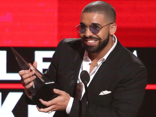 In this Nov. 20, 2016 file photo, Drake accepts the