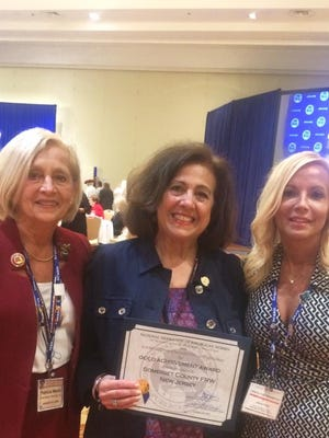 Somerset County Freeholder Pat Walsh, Somerset County Federation President, Cathy Callahan and State Committeewoman Janice Fields with their newly earned Gold Achievement Award at the Biennial Convention of The National Federation of Republican Women In Philadelphia.
