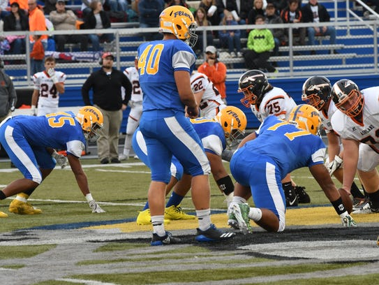 Clyde linebacker Josh Jenne helps the Front 7 line