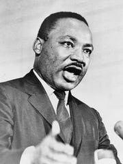 The Rev. Martin Luther King Jr. speaks at a rally in