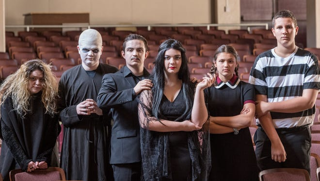 """Tiffany Yturralde, left, Jacob Mazac, Erik Heath, Grace Whitmore, Emily Silva and Micah Riedman put the family in Mission Oaks production of """"The Addams Family, A New Musical Comedy."""""""