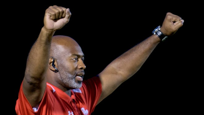 Lee head coach Tyrone Rogers against Wetumpka at Hohenberg Field in Wetumpka, Ala. on Friday October 30, 2015. (Mickey Welsh / Montgomery Advertiser)