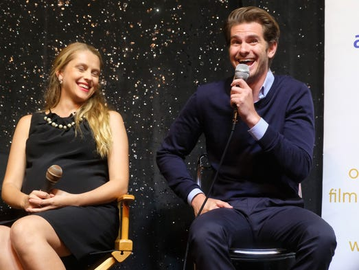 Actors Teresa Palmer and Andrew Garfield attend Australians