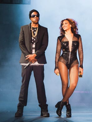 "Beyoncé and JAY Z perform on the ""On the Run Tour"" at The Great American Ball Park on Saturday, June 28, 2014."