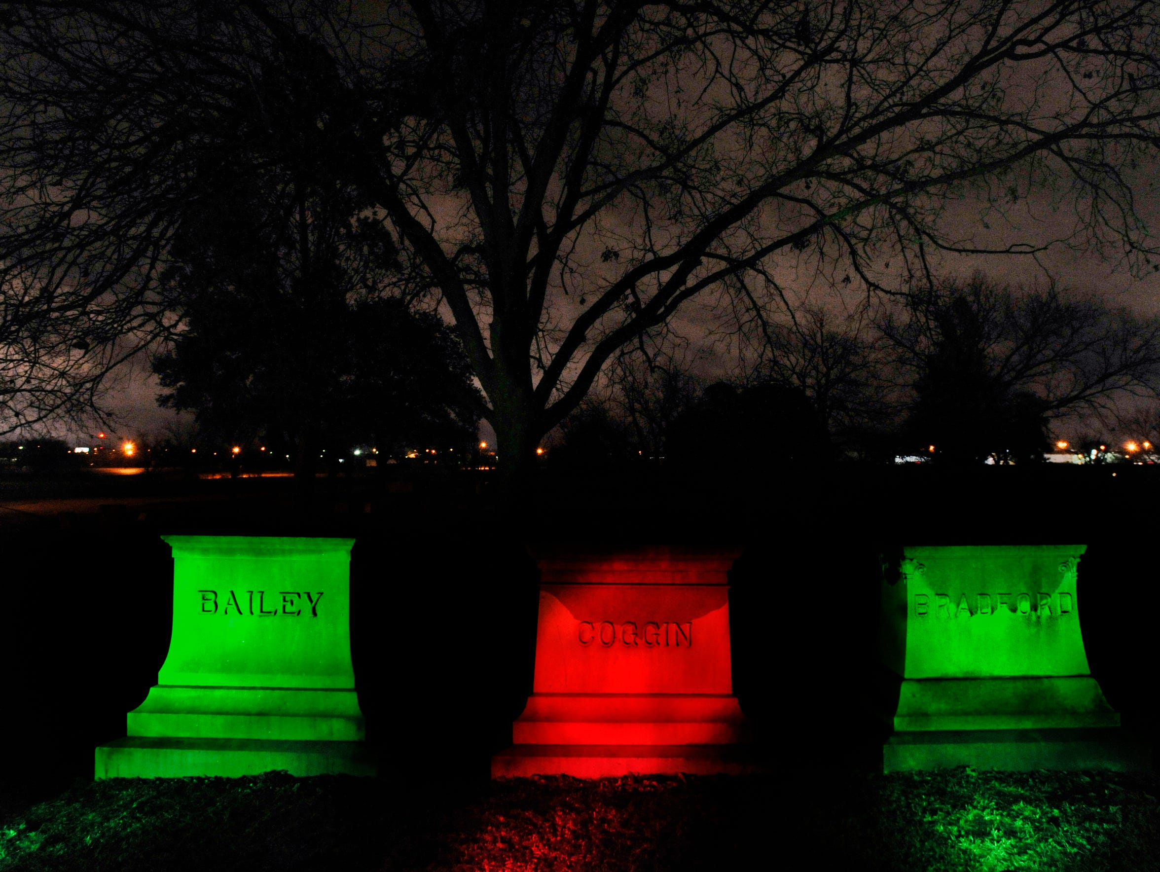 Solar-powered lights illuminate markers during the