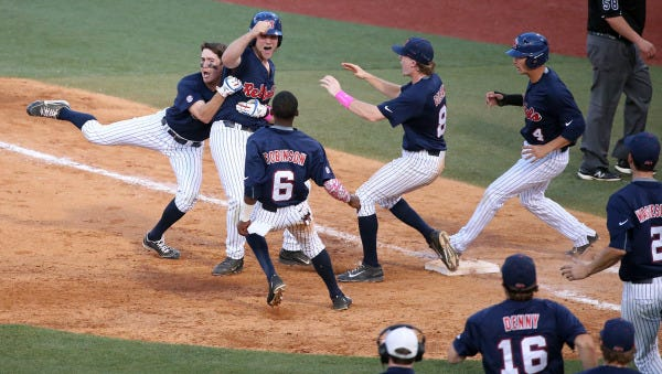 Ole Miss celebrates its win over rival Mississippi State