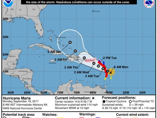 Hurricane Maria Track Storm Targets US Virgin Islands Puerto Rico - Mental health needed in us virgin islands on a map