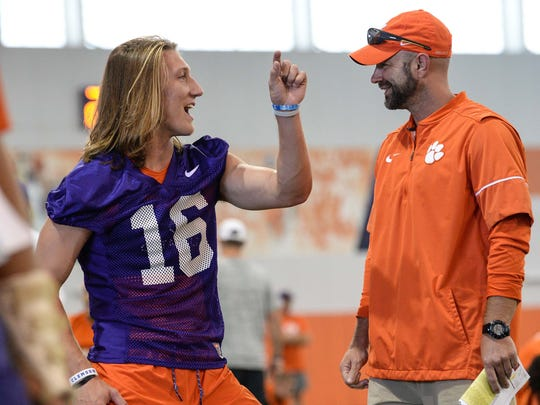 Clemson quarterback Trevor Lawrence (16) during the first day of practice at the Clemson Indoor Football facility at Clemson on Friday, August 3, 2018.